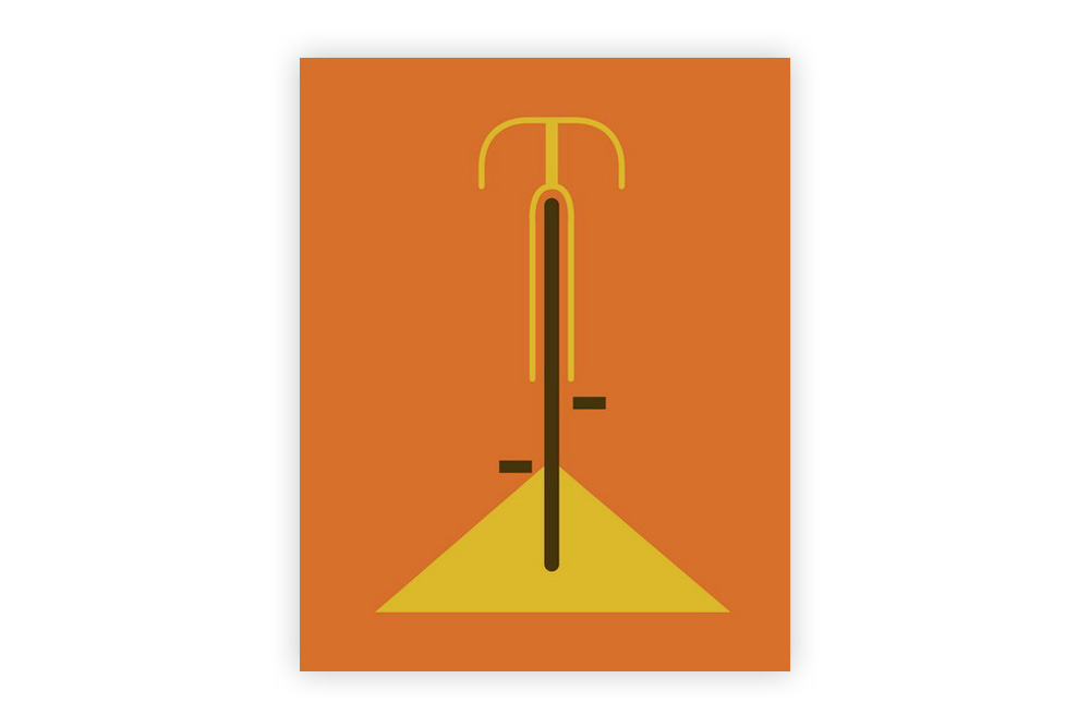 Simple Orange Bicycle Cycling Print by Eleanor Grosch