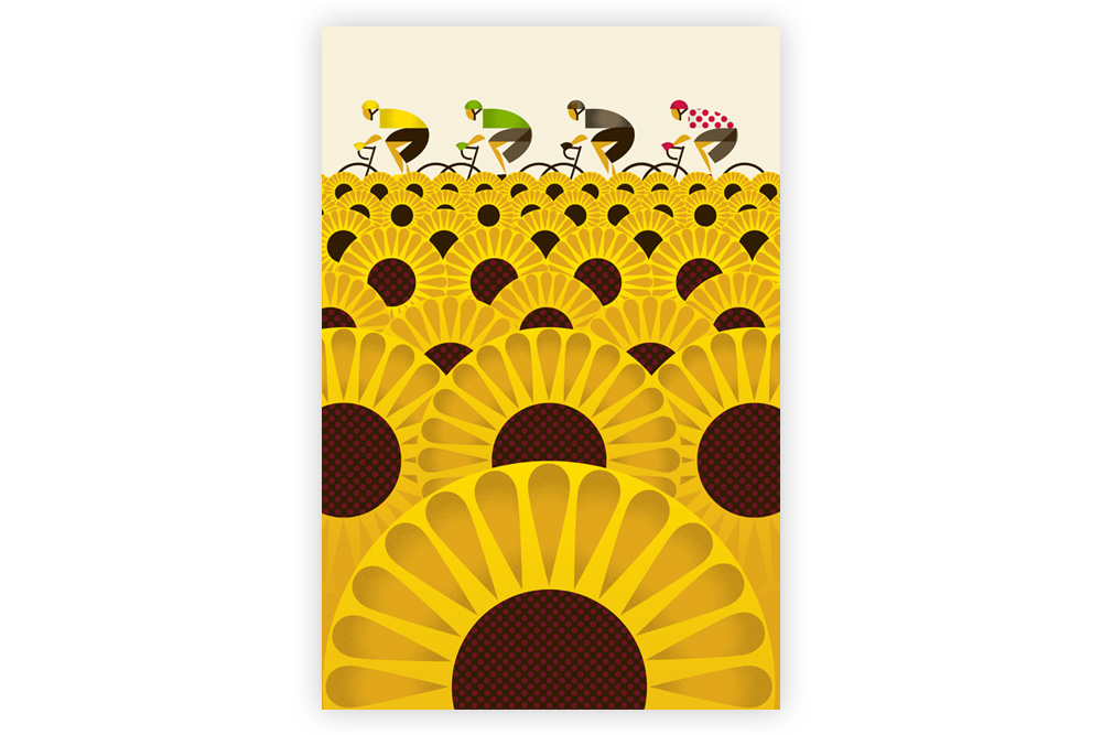 Le Tour – Sunflower Field Cycling Print by Eleanor Grosch