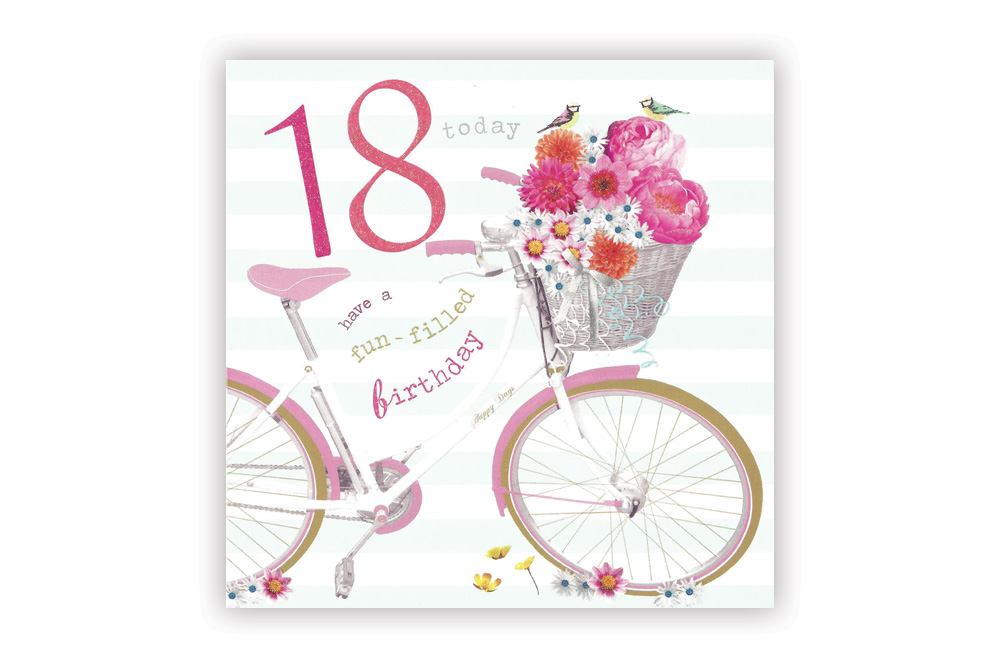Happy 18th birthday bicycle greeting card cyclemiles happy 18th birthday bicycle greeting card bookmarktalkfo Images