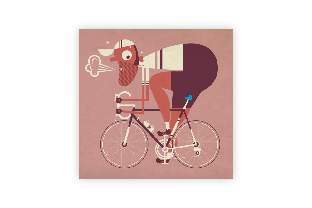 The Blue Saddle Cycling Print by Mick Marston