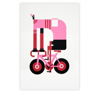 Pink Cyclist Cycling Print by Mick Marston