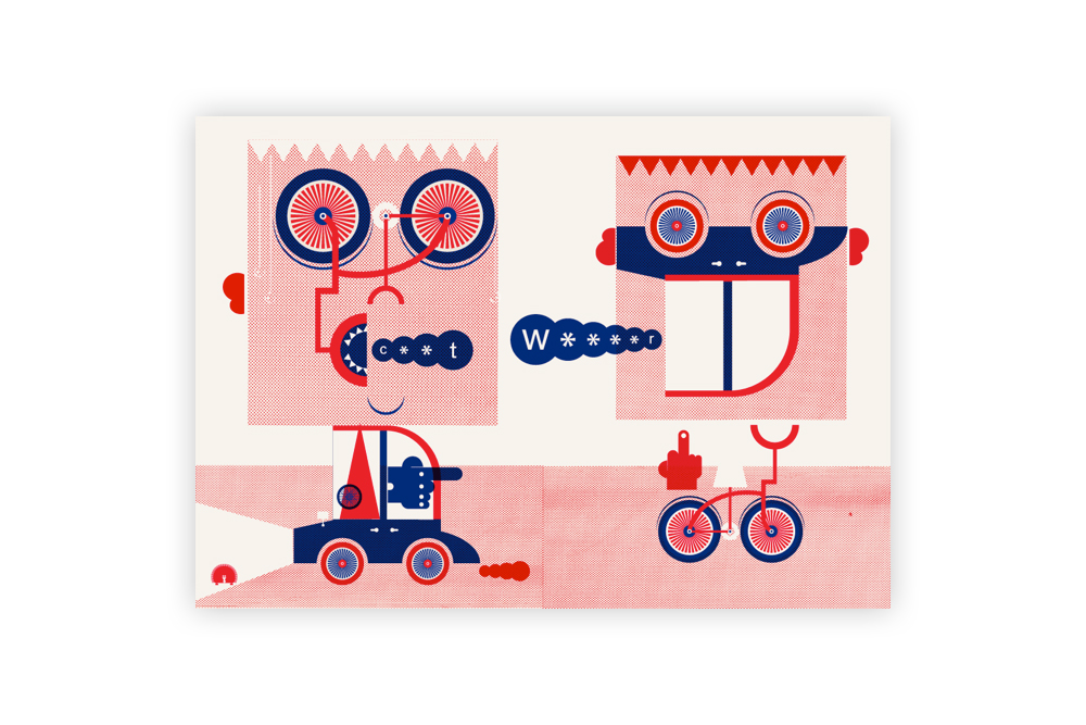 Road Rage Cycling Print by Mick Marston