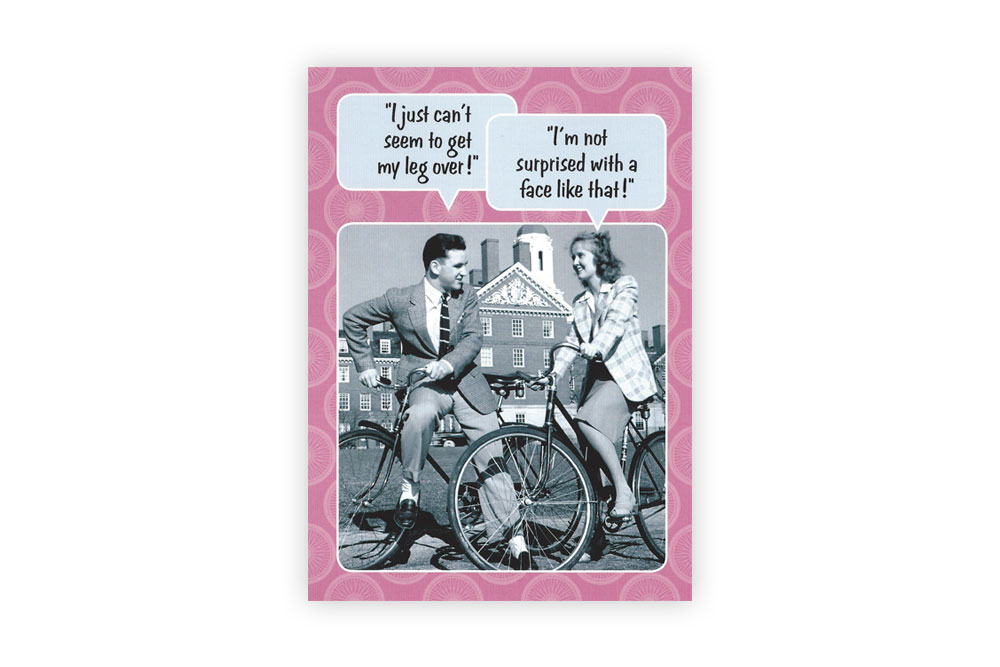 Leg Over Bicycle Greeting Card