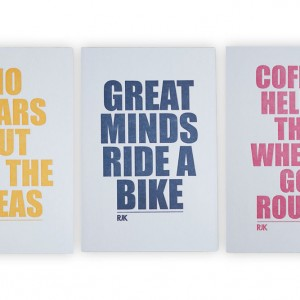 4 Letterpress Cycling Postcards – Rebecca J Kaye