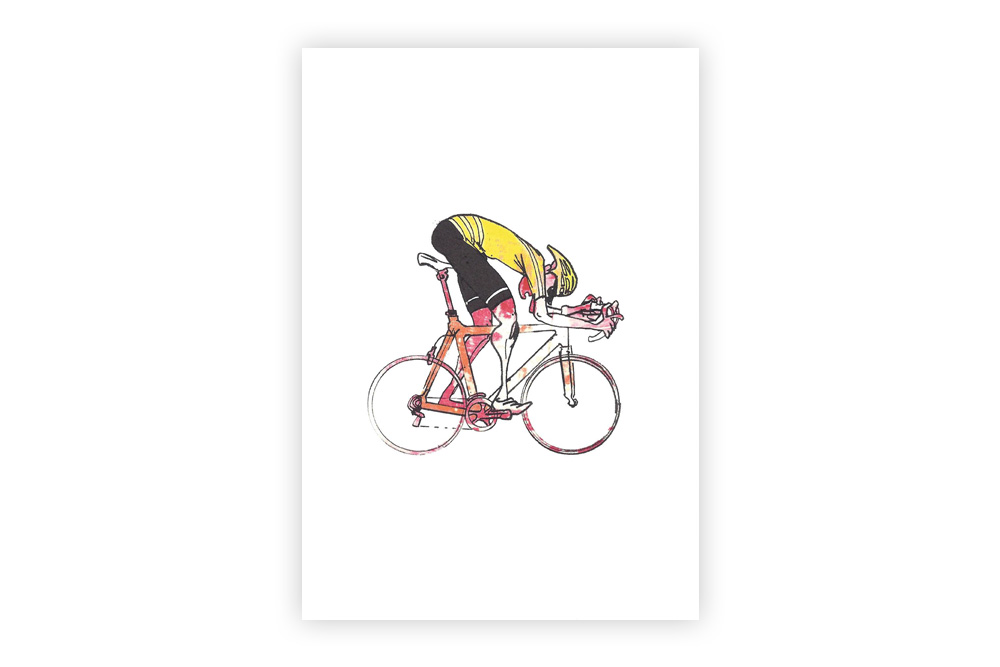 Lone Racer 10 Bicycle Greeting Card – Simon Spilsbury