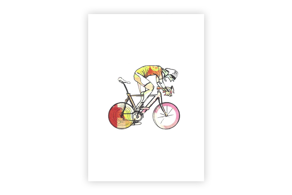 Lone Racer 02 Bicycle Greeting Card – Simon Spilsbury