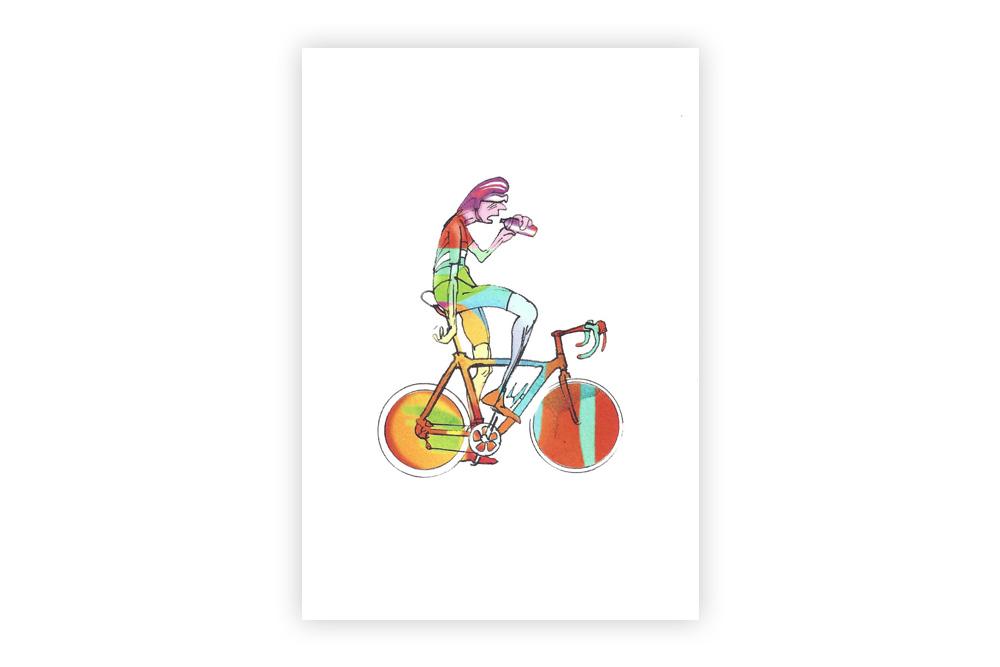 Lone Racer 03 Bicycle Greeting Card – Simon Spilsbury