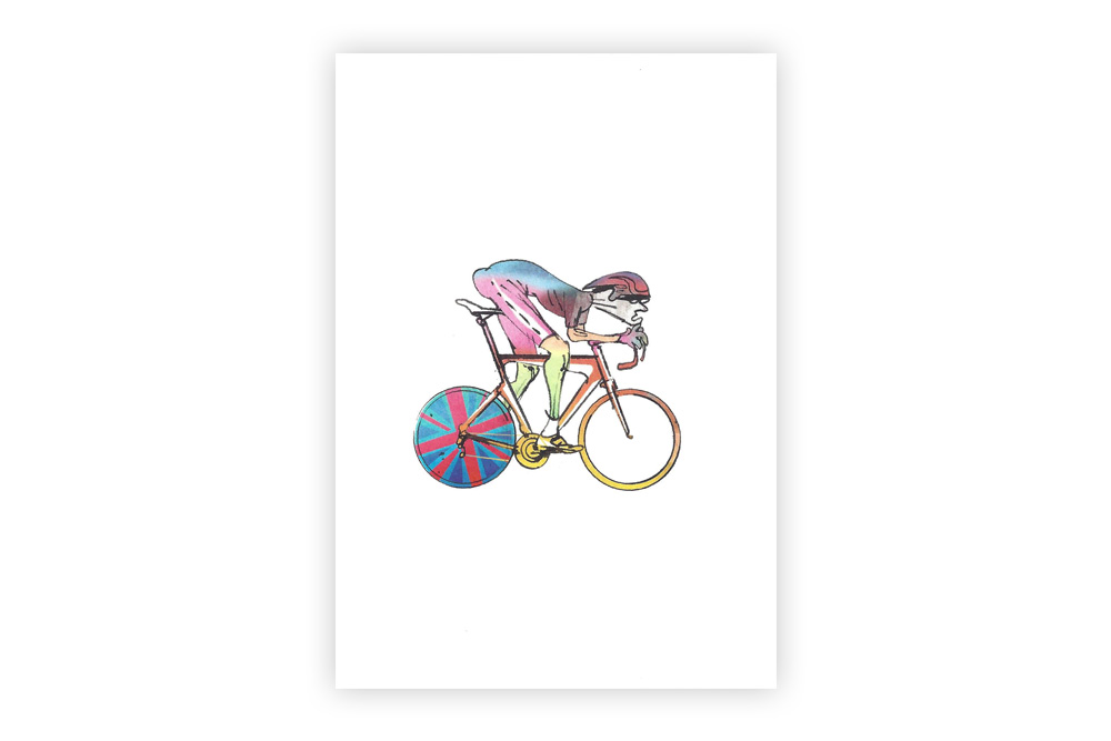 Lone Racer 04 Bicycle Greeting Card – Simon Spilsbury