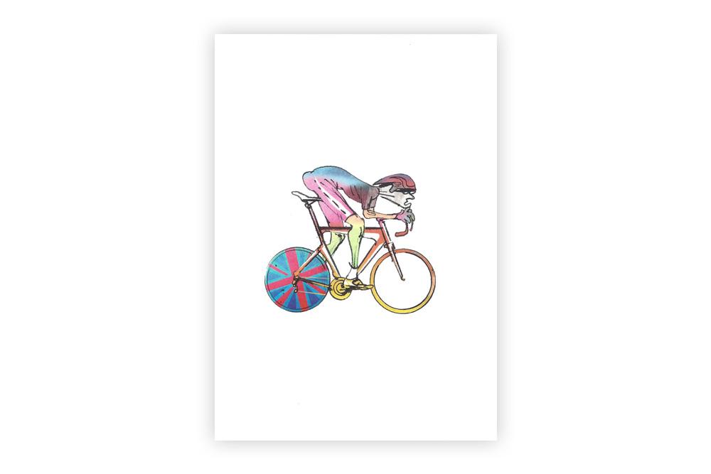 Lone Racer 04 Bicycle Greeting Card – Simon Spilsbury