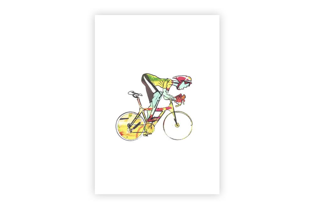 Lone Racer 06 Bicycle Greeting Card – Simon Spilsbury