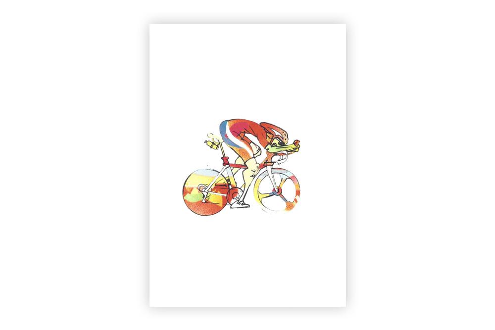 Lone Racer 07 Bicycle Greeting Card – Simon Spilsbury
