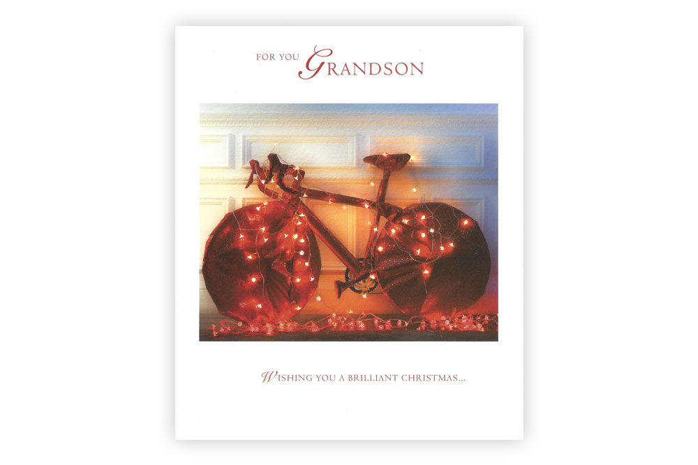 Grandson Bicycle Christmas Card | CycleMiles