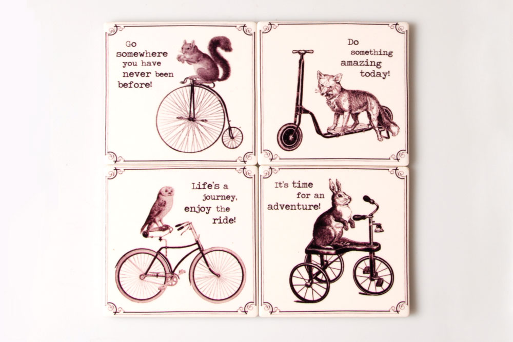 Animal Bicycle Coaster Set