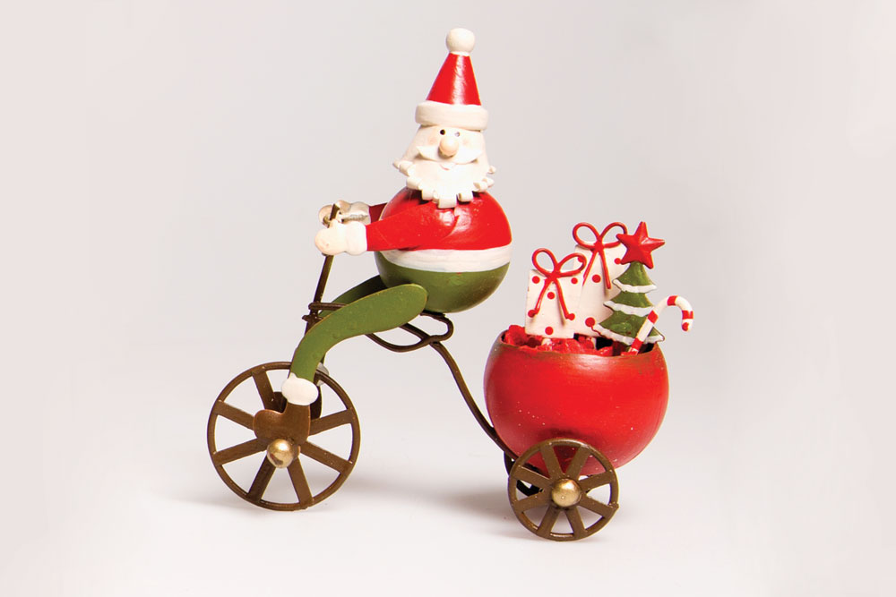 Christmas Bicycle Decoration – Santa on a Bicycle