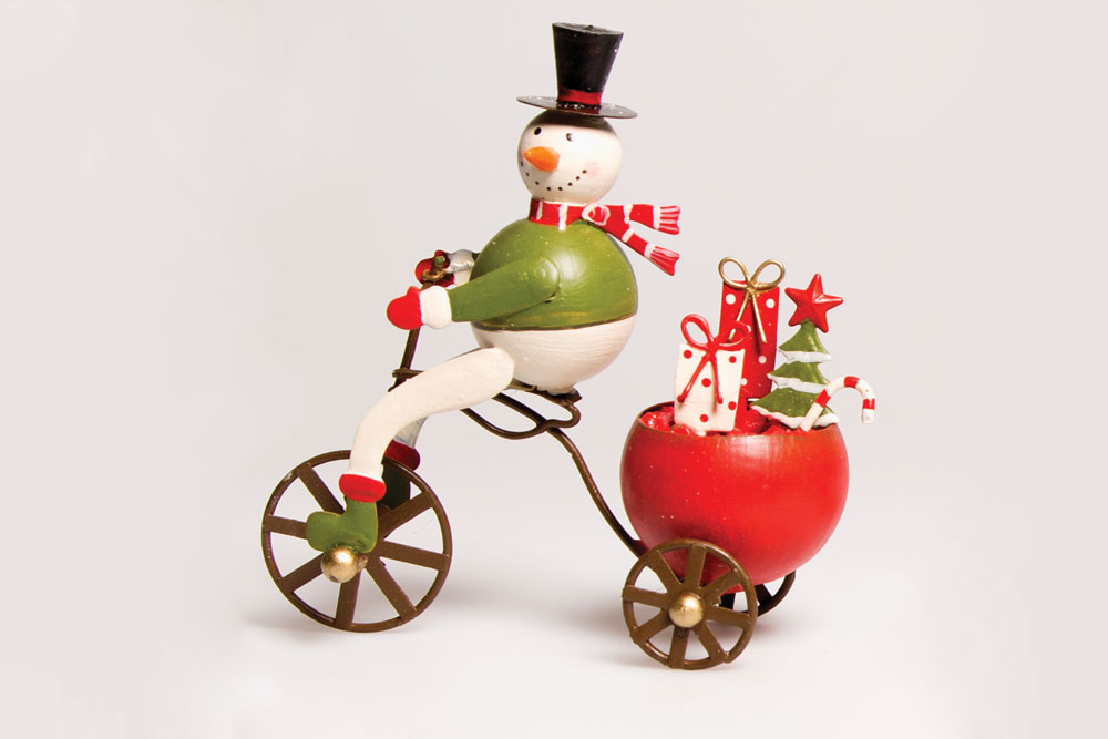 Christmas Bicycle Decoration – Snowman on a Bicycle