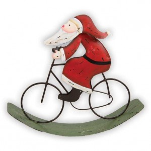 Christmas Bicycle Decoration - Rocking Santa on a Bicycle