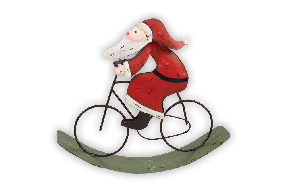 Christmas Bicycle Decoration – Rocking Santa on a Bicycle