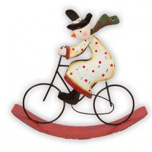 Christmas Bicycle Decoration - Rocking Snowman on a Bicycle