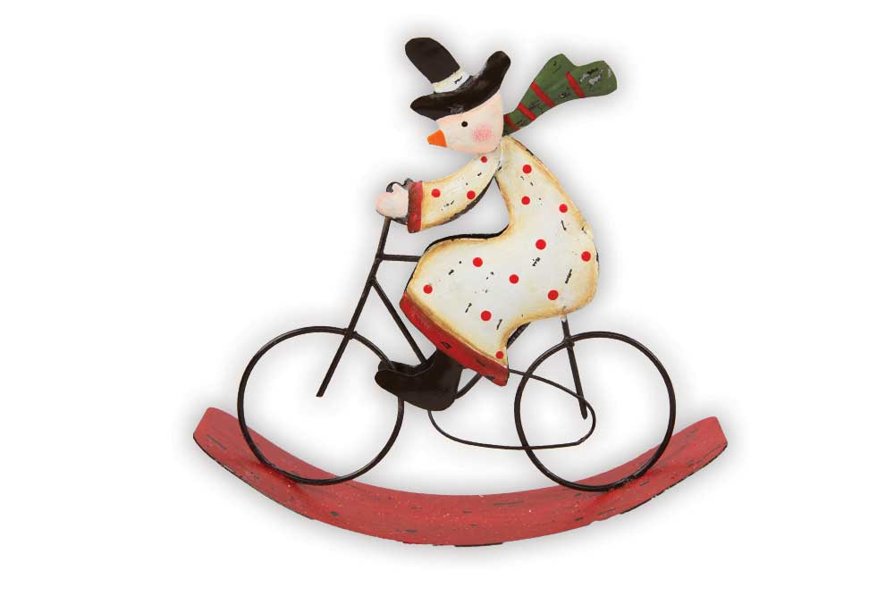 64e2f92b1 £6.95  Christmas Bicycle Decoration – Rocking Snowman on a Bicycle
