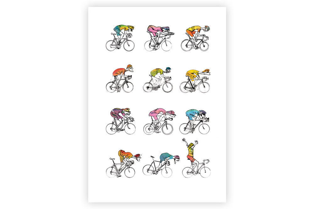 Midlife Cyclists Cycling Print – Simon Spilsbury
