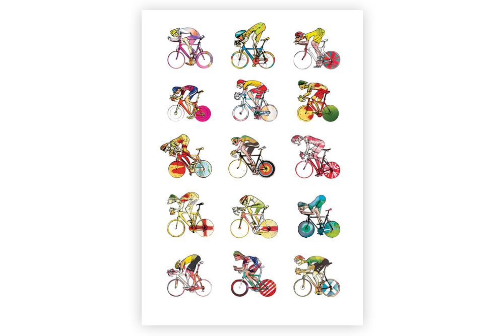 Roadies 02 Cycling Print – Simon Spilsbury
