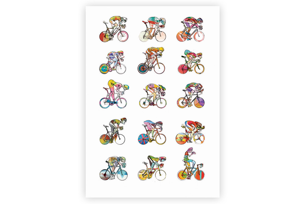 Roadies 01 Cycling Print – Simon Spilsbury