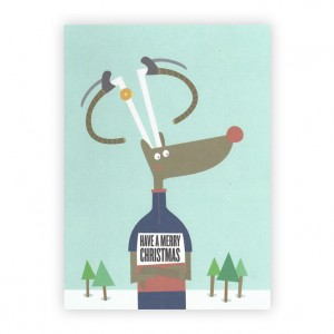 Rudolf Bicycle Christmas Card x 4 - Rebecca J Kaye