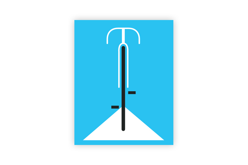 Simple Blue Bicycle Print by Eleanor Grosch