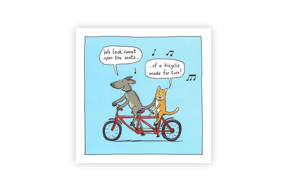 Dog and Cat Bicycle Greeting Card
