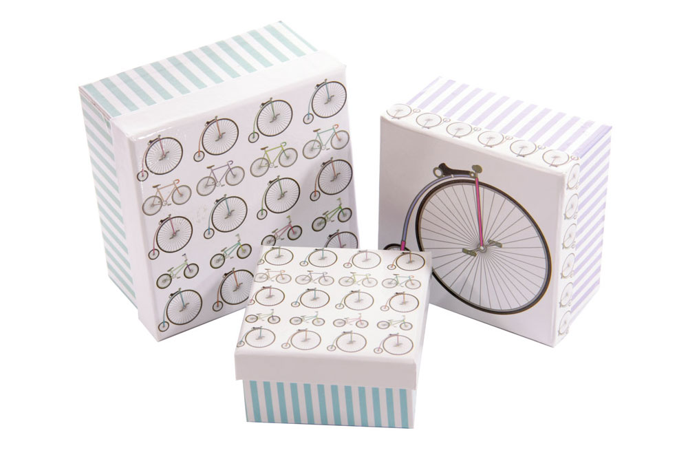 Set of 3 Square Bicycle Gift Boxes