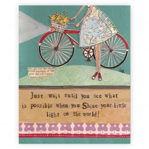 Curly Girl Shine your little light Bicycle Art Block