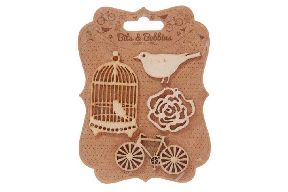 Bird, Rose and Bicycle Wooden Craft Shapes