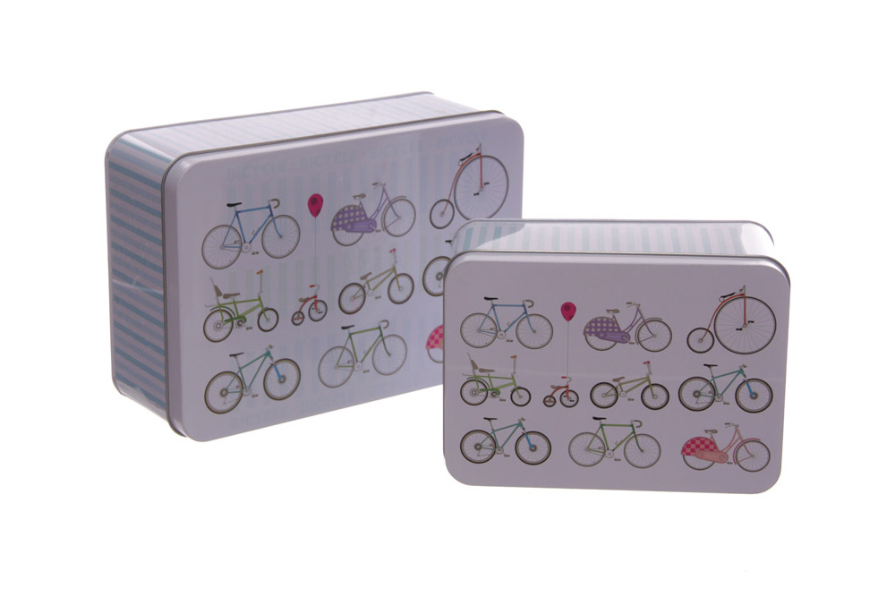 Pack of 2 Rectangle Bicycle Tins