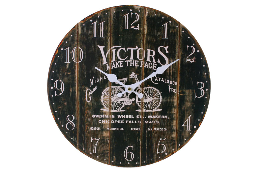 Vintage Distressed Wooden Bicycle Clock