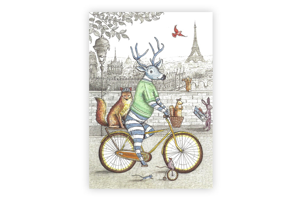 Stag on a Bicycle Greeting Card