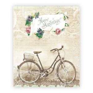 Vintage Happy Birthday Bicycle Greeting Card