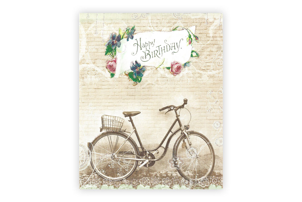 Vintage Happy Birthday Bicycle Greeting Card