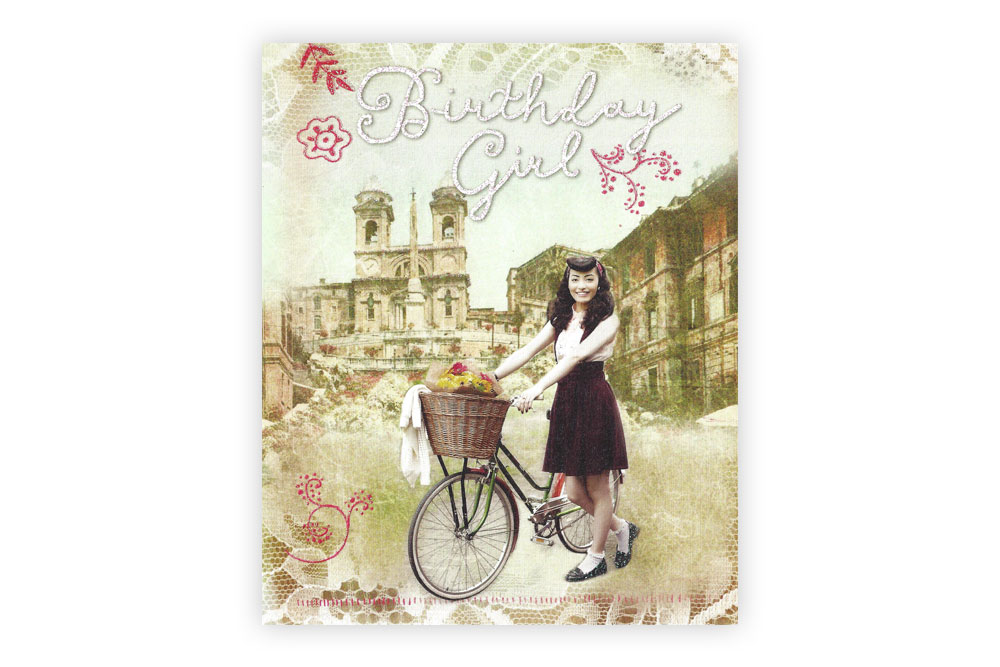 Vintage Bicycle Birthday Girl Greeting Card