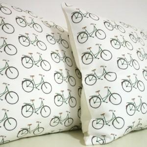 Yellowstone White Bicycle Pattern Cushion