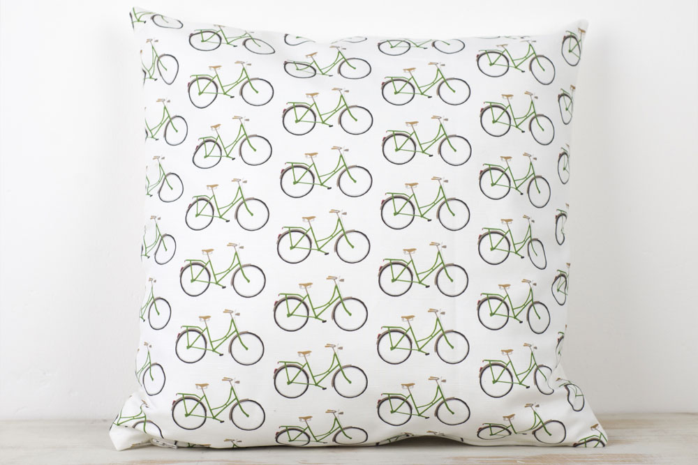 Yellowstone White Bicycle Pattern Cushion