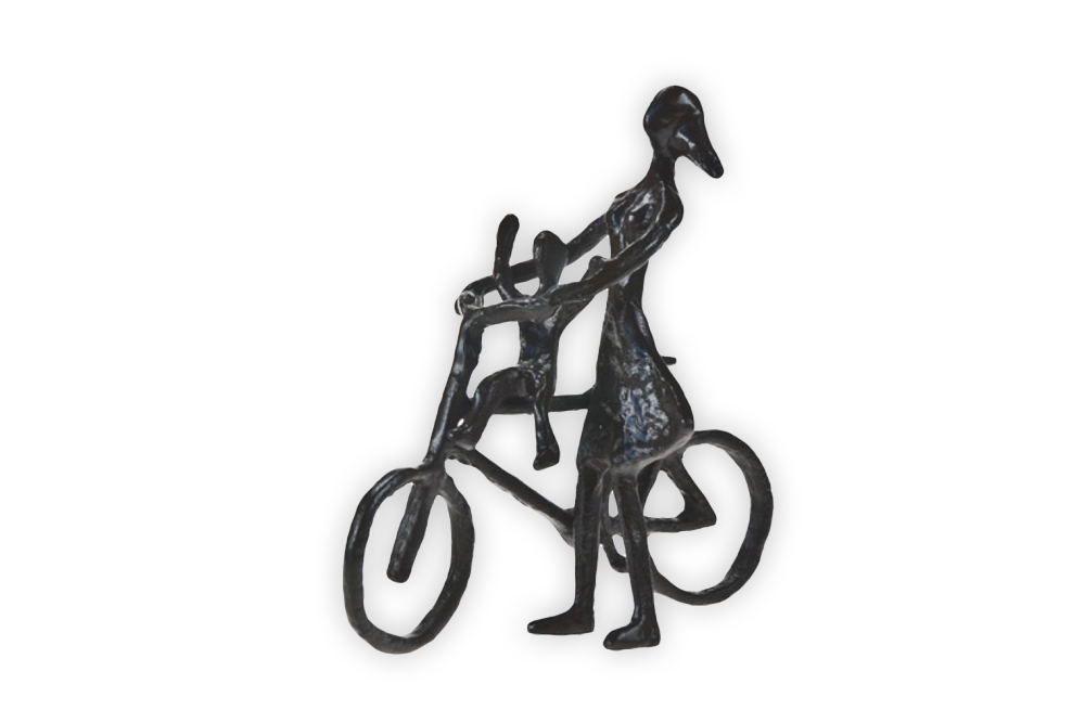 Mother and Small Child Bicycle Sculpture