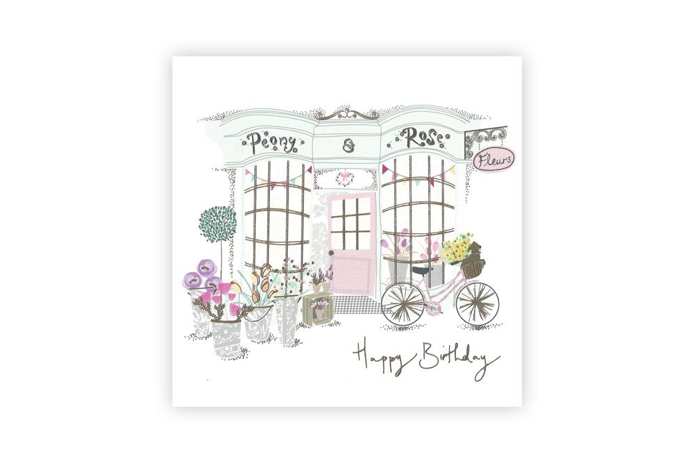 Flower Shop Bicycle Birthday Card