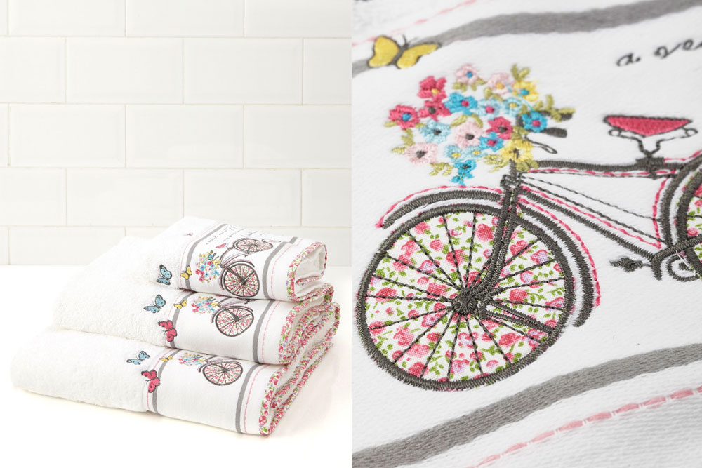 Embroidered bicycle towels cyclemiles for Bathroom embroidery designs