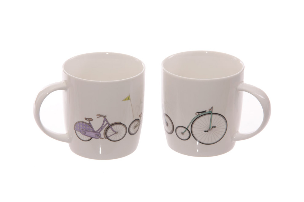Two Bicycle Mugs Gift Set