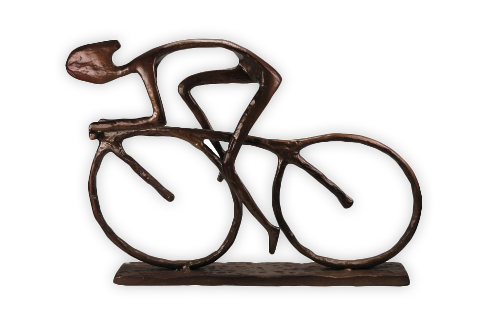 Large Racing Cyclist Bicycle Sculpture