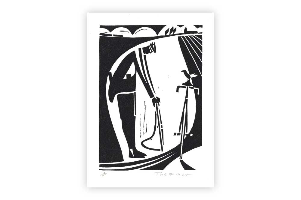 The Fixer Bicycle Greeting Card by Andrew Pavitt