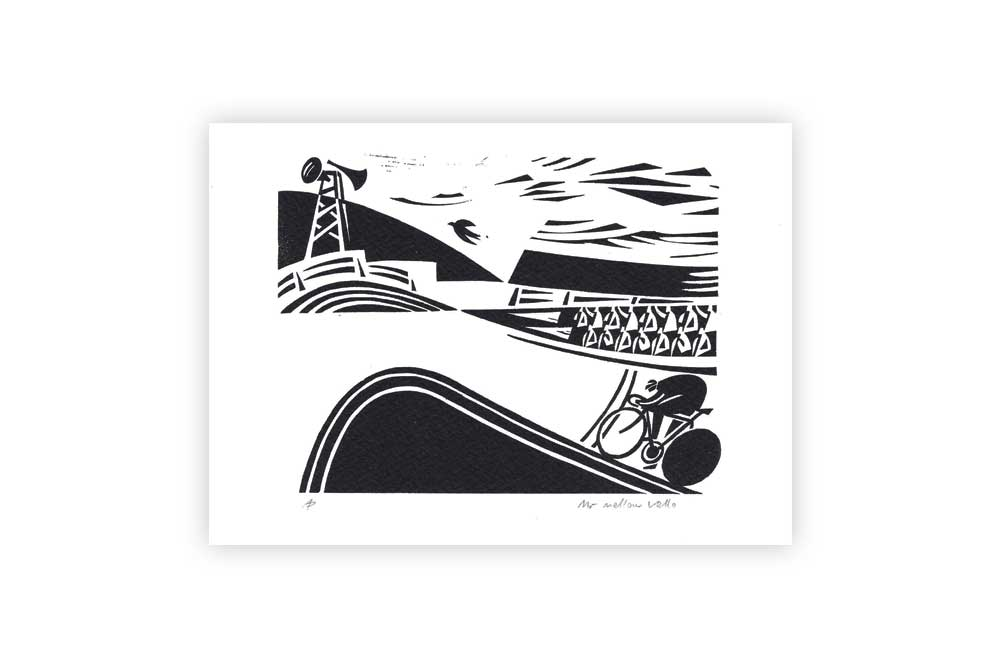 Mr Mellow Vello Bicycle Greeting Card by Andrew Pavitt