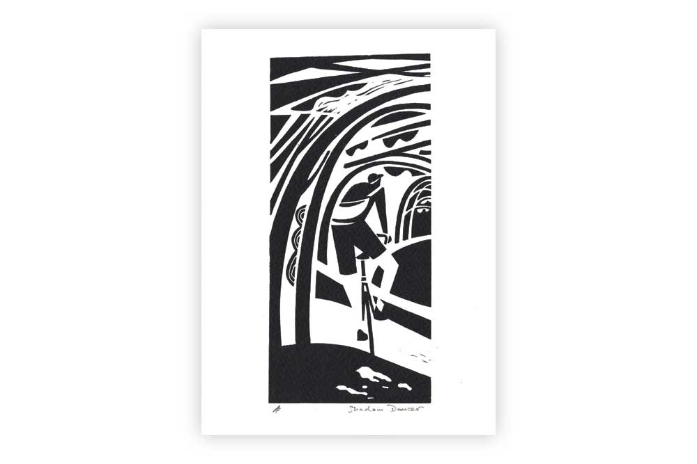 Shadow Dancer Bicycle Greeting Card by Andrew Pavitt