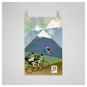 Giro D'Italia: Gavia Cycling Print by Eleanor Grosch