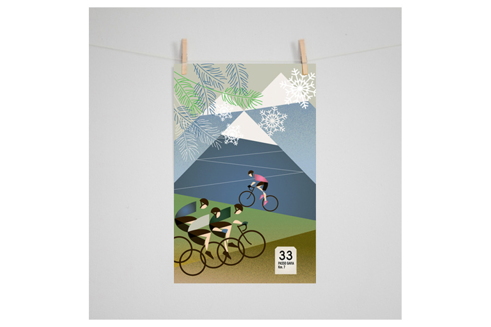 Giro D'Italia: Gavia Cycling Print by Eleanor Grosch